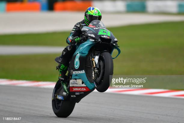 Franco Morbidelli of Italy and Petronas Yamaha SRT celebrates winning the third place after the qualifying of the MotoGP of Malaysia at Sepang...