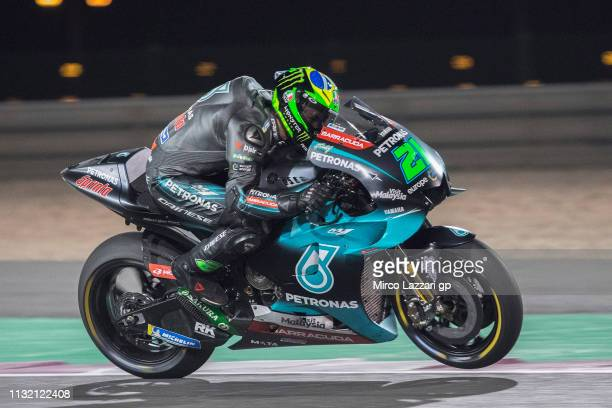 Franco Morbidelli of Italy and Petronas Yamaha SRT heads down a straight during the MotoGP Tests Day Three at Losail Circuit on February 25 2019 in...