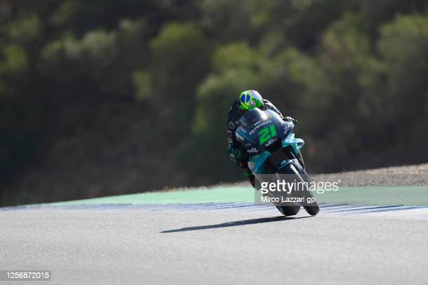 Franco Morbidelli of Italy and Petronas Yamaha SRT heads down a straight during the MotoGP of Spain Qualifying at Circuito de Jerez on July 18 2020...