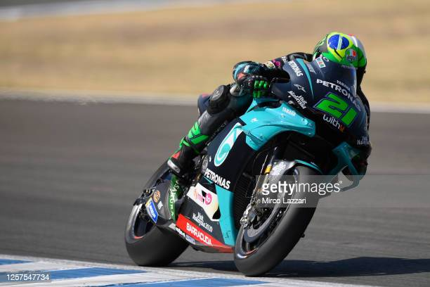 Franco Morbidelli of Italy and Petronas Yamaha SRT heads down a stright during the MotoGP Tests In Jerez at Circuito de Jerez on July 15 2020 in...