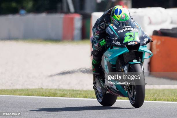 Franco Morbidelli of Italy and Petronas Yamaha SRT heads down a straight during the MotoGP Of Czech Republic Free Practice at Brno Circuit on August...