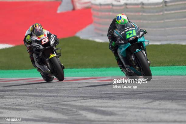 Franco Morbidelli of Italy and Petronas Yamaha SRT leads Johann Zarco of France and Reale Avintia Racing during the MotoGP Of Austria - Qualifying at...