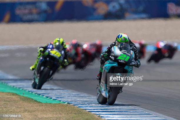 Franco Morbidelli of Italy and Petronas Yamaha SRT leads the field during the MotoGP race during the MotoGP of Spain Race at Circuito de Jerez on...