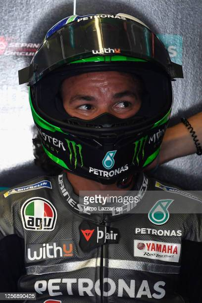 Franco Morbidelli of Italy and Petronas Yamaha SRT looks on in box during the MotoGP of Spain Qualifying at Circuito de Jerez on July 18 2020 in...