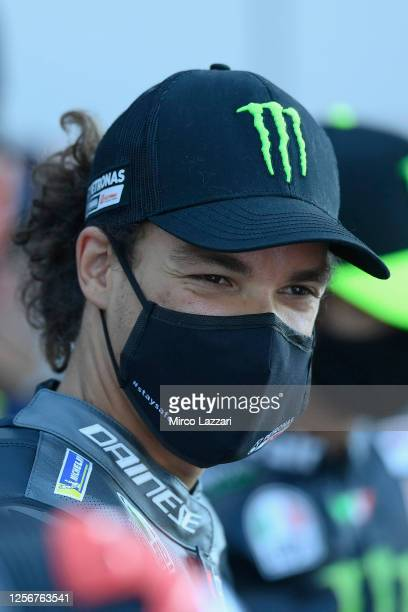 Franco Morbidelli of Italy and Petronas Yamaha SRT looks on with the facial mask on track before the official photo of the 2020 season during the...