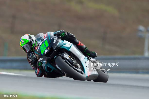 Franco Morbidelli of Italy and Petronas Yamaha SRT rounds the bend during the MotoGp of Czech Republic Free Practice at Brno Circuit on August 02...