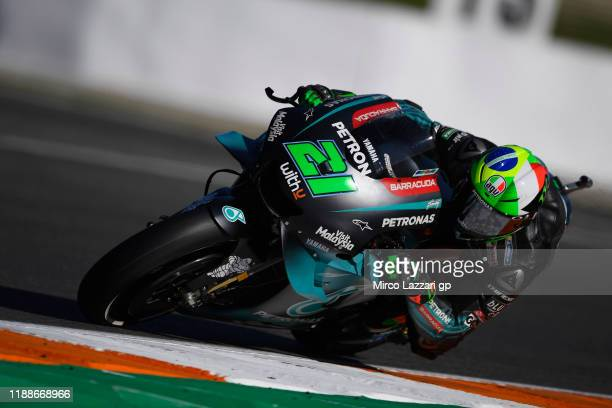Franco Morbidelli of Italy and Petronas Yamaha SRT rounds the bend during the preseason MotoGP Tests in Valencia at Ricardo Tormo Circuit on November...