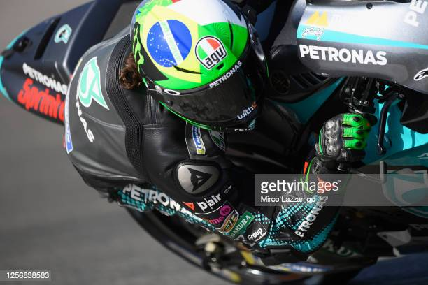 Franco Morbidelli of Italy and Petronas Yamaha SRT rounds the bend during the MotoGP of Spain Qualifying at Circuito de Jerez on July 18 2020 in...