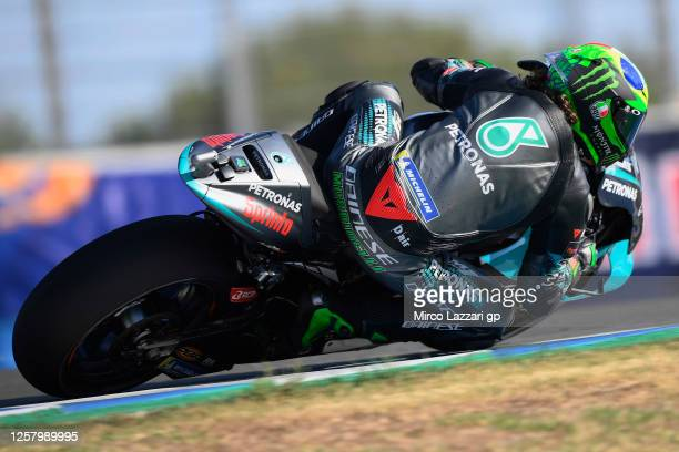 Franco Morbidelli of Italy and Petronas Yamaha SRT rounds the bend during the MotoGP of Andalucia Free Practice at Circuito de Jerez on July 24 2020...