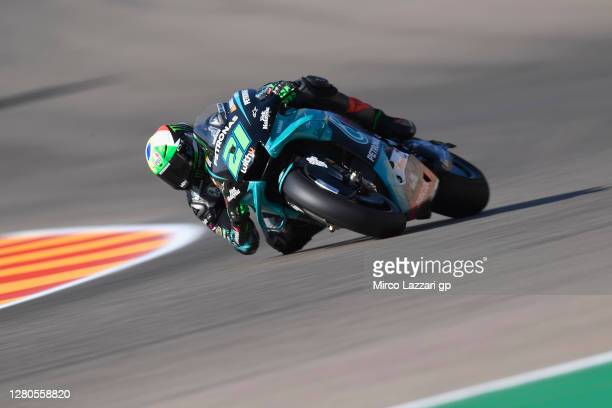 Franco Morbidelli of Italy and Petronas Yamaha SRT rounds the bend during the free practice for the MotoGP of Aragon at Motorland Aragon Circuit on...
