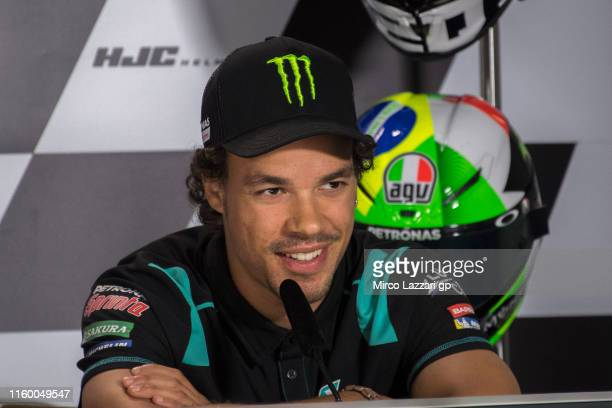 Franco Morbidelli of Italy and Petronas Yamaha SRT speaks during the press conference preevent during the MotoGp of Germany Previews at Sachsenring...