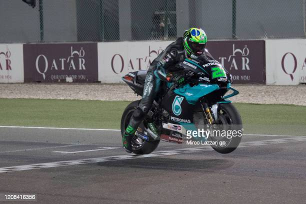 Franco Morbidelli of Italy and Petronas Yamaha SRT tests the start on the grid during the MotoGP Tests at Losail Circuit on February 24 2020 in Doha...