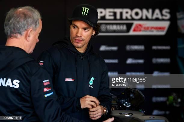 Franco Morbidelli of Italy and Petronas Yamaha SRT Yamaha whit Ramon Forcada during the tests of the new MotoGP season 2019 at Ricardo Tormo Circuit...