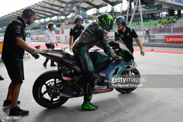Franco Morbidelli of Italy and the Petronas Yamaha SRT is seen prior to the race of the MotoGP of Malaysia at Sepang International Circuit on...