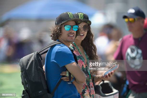 Franco Morbidelli of Italy look on in paddock during the Superbike race 2 during the WorldSBK Riviera di Rimini Race on July 8 2018 in Misano...