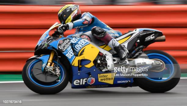 Franco Morbidelli of Italy on his Estella Galicia Honda RC213V during the qualifying session for Sundays race at Silverstone Circuit on August 25...