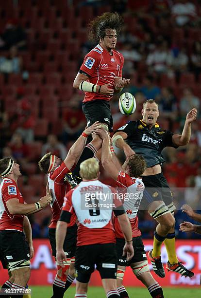 Franco Mostert of the Lions wins the lineout during the Super Rugby match between Emirates Lions and Hurricanes at Emirates Airline Park on February...