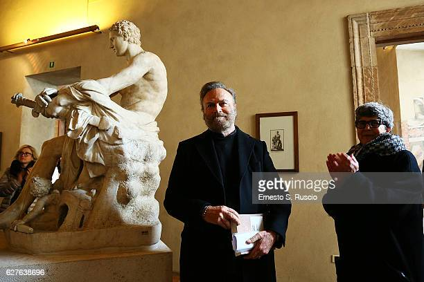 Franco Nero and Alessandra Capodiferro attend the Songs Of Stone' By Gabriele Tinti at Museo Nazionale Romano Palazzo Altemps on December 4, 2016 in...