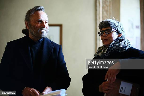 Franco Nero and Alessandra Capodiferro attend the Songs Of Stone' By Gabriele Tinti at Museo Nazionale Romano Palazzo Altemps on December 4 2016 in...
