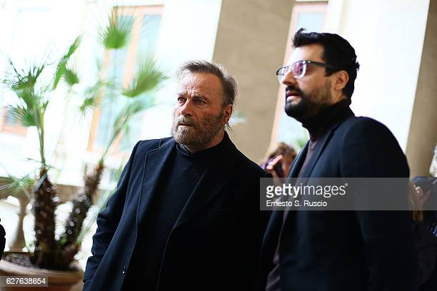 Franco Nero and Gabriele Tini attend the Songs Of Stone' By Gabriele Tinti at Museo Nazionale Romano Palazzo Altemps on December 4, 2016 in Rome,...