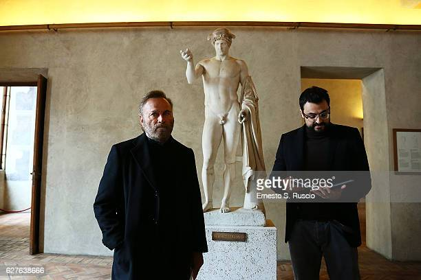 Franco Nero and Gabriele Tini attend the Songs Of Stone' By Gabriele Tinti at Museo Nazionale Romano Palazzo Altemps on December 4 2016 in Rome Italy