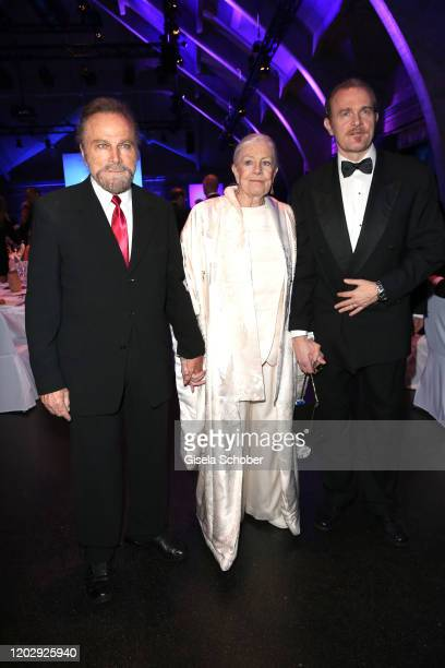 Franco Nero and his wife Vanessa Redgrave and their son Carlo Gabriel Nero during the Cinema For Peace Gala at Westhafen Event & Convention Center on...