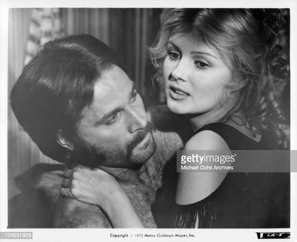 Franco Nero And Pamela Tiffin embrace in a scene from the film 'Deaf Smith And Johnny Ears' 1973