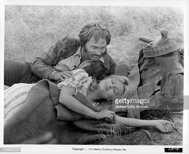 Franco Nero And Pamela Tiffin lay together in a scene from the film 'Deaf Smith And Johnny Ears' 1973