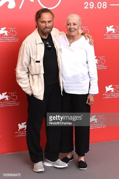 Franco Nero and Vanessa Redgrave attend a photocall where she is awarded a Lifetime Achievement Award during the 75th Venice Film Festival at Sala...