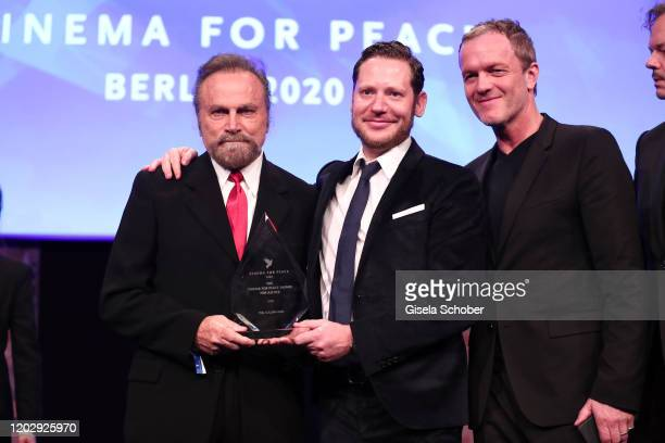 Franco Nero Director Marco Kreuzpaintner and producer Christoph Mueller of Der Fall Collini during the Cinema For Peace Gala at Westhafen Event...