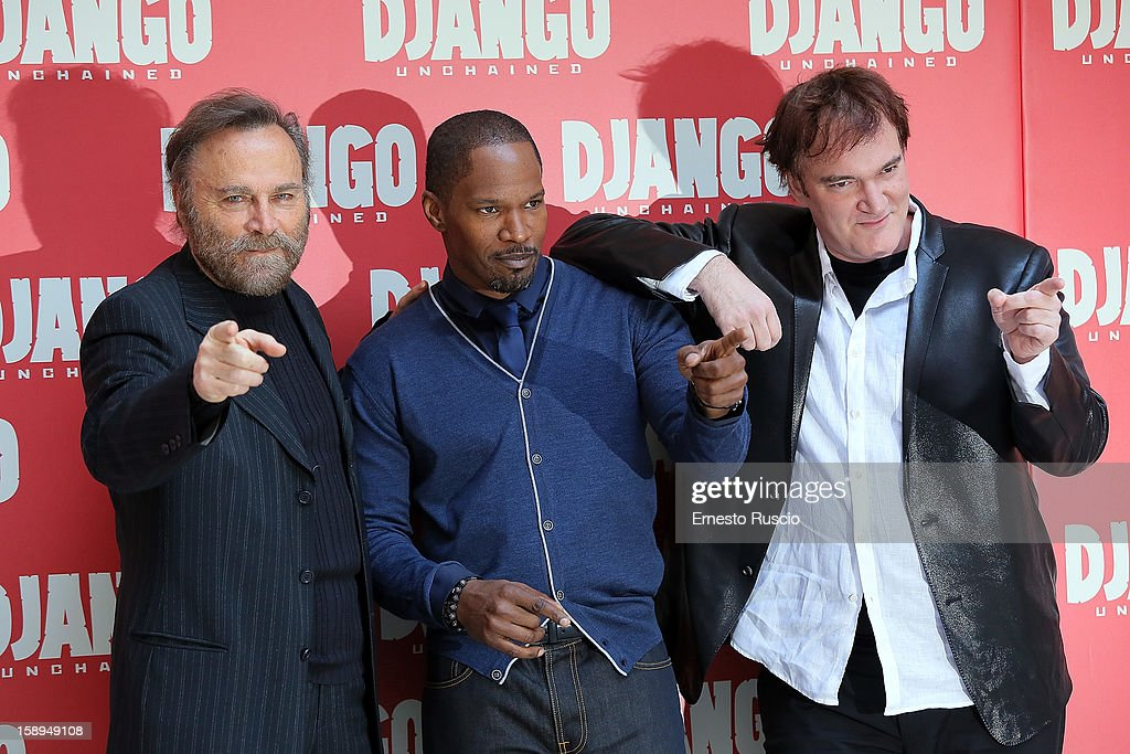 Franco Nero, Jamie Foxx and Quentin Tarantino attend the 'Django Unchained' photocall at the Hassler Hotel on January 4, 2013 in Rome, Italy.