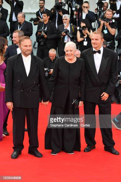 Franco Nero, Vanessa Redgrave and Carlo Gabriel walk the red carpet ahead of the opening ceremony and the 'First Man' screening during the 75th...