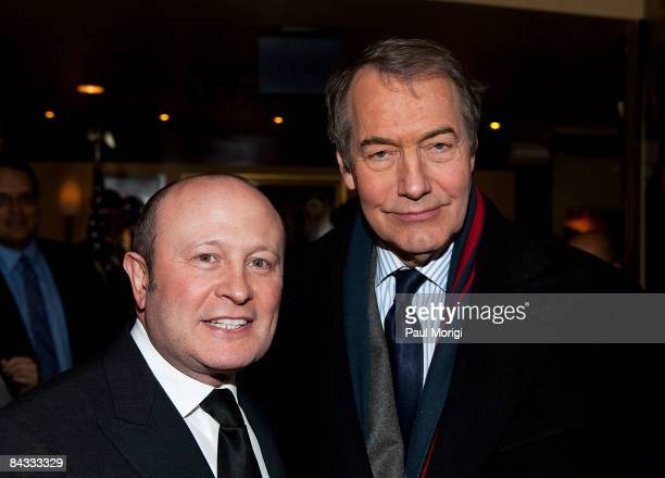 Franco Nuschese and Charlie Rose at the celebration to honor the Inauguration of Barack Obama at Cafe Milano on January 16, 2009 in Washington, DC.