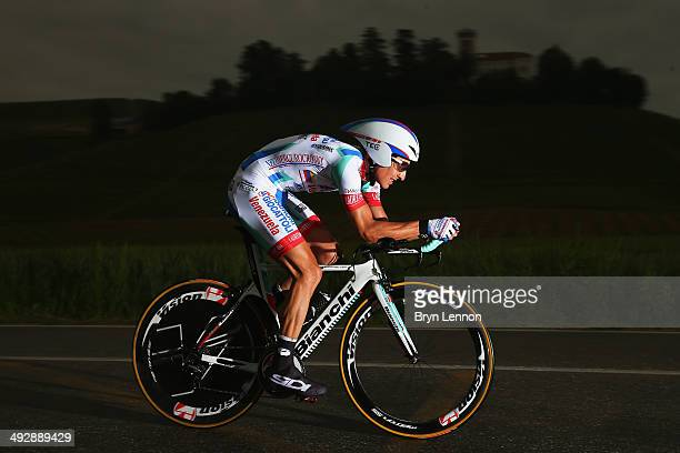 Franco Pellizotti of Italy and Androni GiocattoliVenezuela in action during the twelfth stage of the 2014 Giro d'Italia a 42km Individual Time Trial...