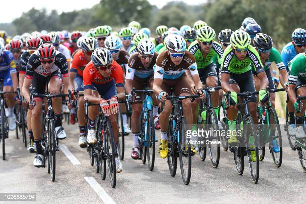Franco Pellizotti of Italy and Bahrain Merida Pro Cycling Team / Nans Peters of France and Team AG2R La Mondiale / Tony Gallopin of France and Team...