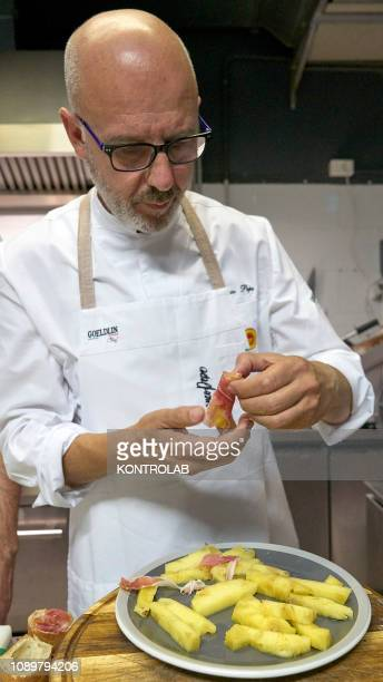 Franco Pepe appointed the best pizzamaker in the world prepares a new fried pizza called Ananascosta in his pizzeria Pepe in Grani in Caiazzo near...