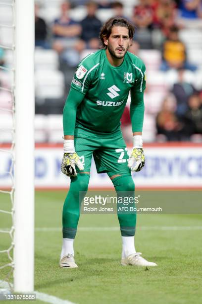 Franco Ravizzoli of MK Dons during the Carabao Cup 1st Round match between AFC Bournemouth and MK Dons at Vitality Stadium on July 31, 2021 in...