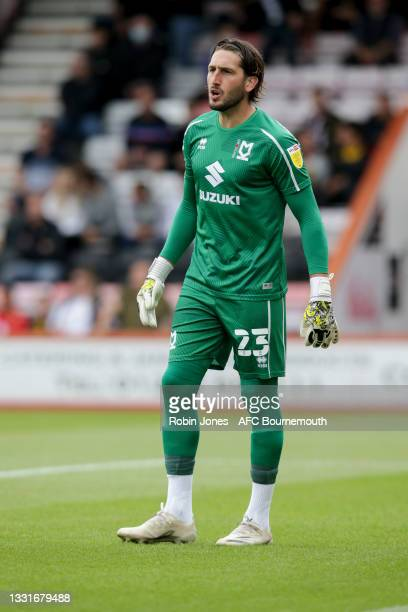Franco Ravizzoli of MK Dons of Bournemouth during the Carabao Cup 1st Round match between AFC Bournemouth and MK Dons at Vitality Stadium on July 31,...