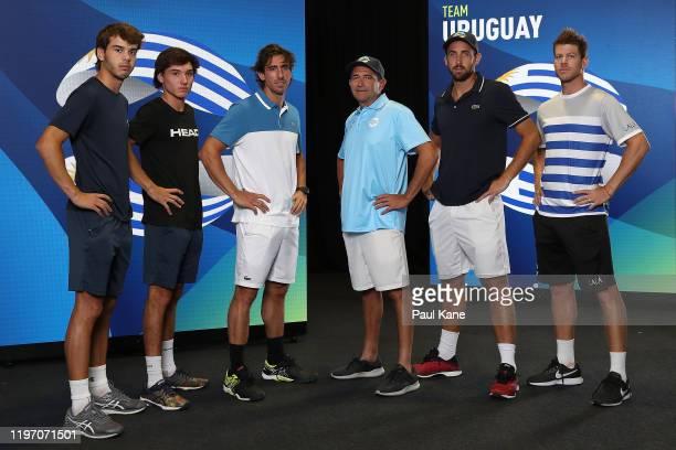Franco Roncadelli Juan Martin Fumeaux Pablo Cuevas Felipe Maccio Martin Cuevas Ariel Behar of Team Uruguay pose for a team photo ahead of the 2020...