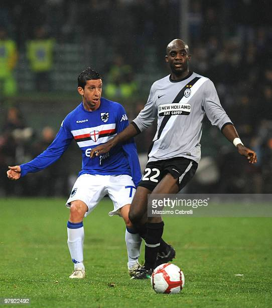 Franco Semioli of UC Sampdoria battles for the ball against Mohammed Sissoko of Juventus FC during the Serie A match between UC Sampdoria and...