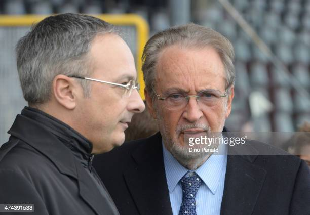 Franco Soldati president of Udinese and Gianpaolo Pozzo, past president of Udinese before the Serie A match between Udinese Calcio and Atalanta BC at...