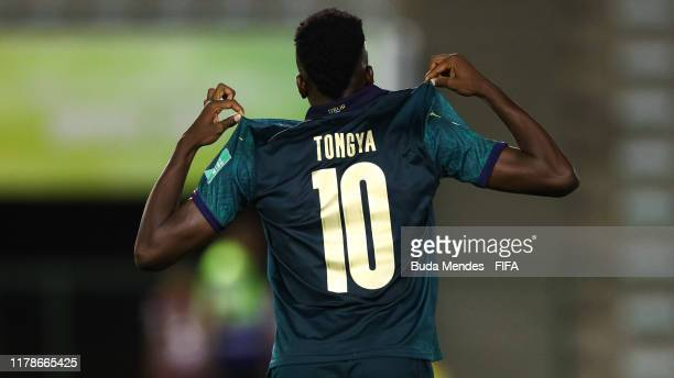 Franco Tongya of Italy celebrates a scored goal during the FIFA U17 Men's World Cup Brazil 2019 group F match between Solomon Islands and Italy at...