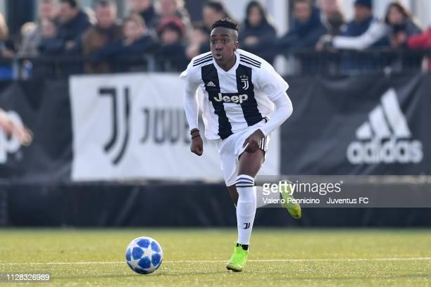 Franco Tongya of Juventus U17 in action during the match between Juventus U17 and Torino FC U17 at Juventus Center Vinovo on February 3 2019 in...