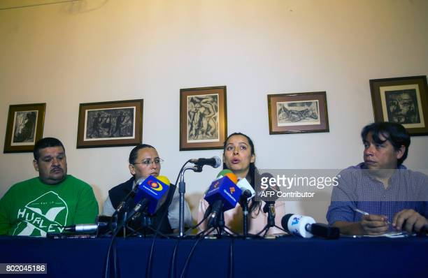 Franco Urtiz Patricia Monreal Frida Navidad Adame daughter of murdered Mexican journalist Salvador Adame and Benjamin Alvarez deliver a press message...