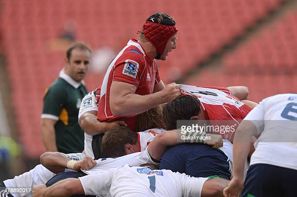 Franco van der Mere of the Lions controls the maul during the Super Rugby match between Lions and Blues at Ellis Park on March 15 2014 in...