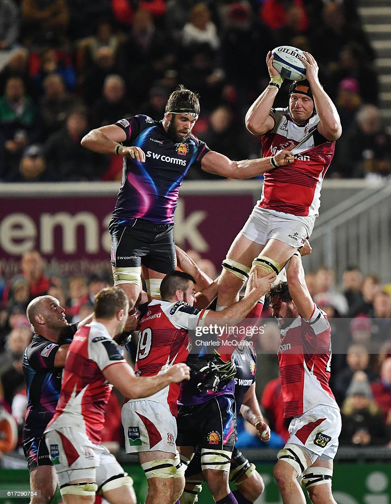 Franco Van Der Merwe of Ulster (R) and (R) collects a line out ball during the Champions Cup Pool 5 game at Kingspan Stadium on October 22, 2016 in Belfast, Northern Ireland.
