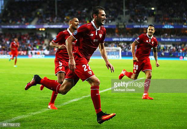 Franco Vazquez of Sevilla celebrates scoring his team's opening goal during the UEFA Super Cup match between Real Madrid and Sevilla at Lerkendal...
