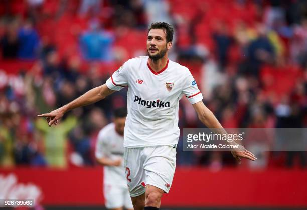 Franco Vazquez of Sevilla CF celebrates after scoring his team's second goal during the La Liga match between Sevilla CF and Athletic Club at Estadio...