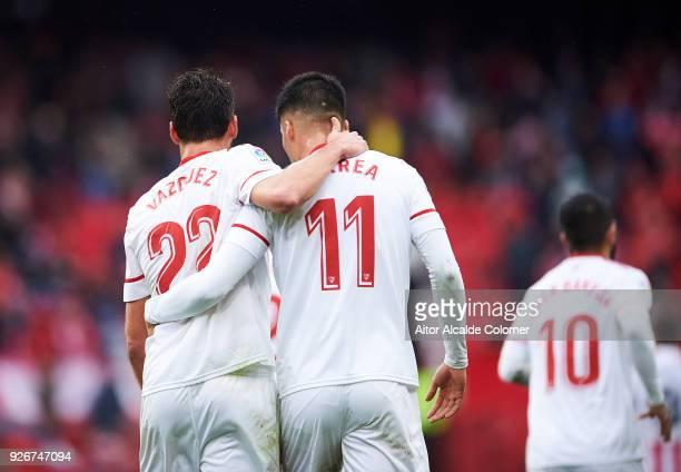 Franco Vazquez of Sevilla CF celebrates with his teammates Joaquin Correa of Sevilla CF after scoring his team's second goal during the La Liga match...