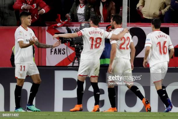 Franco Vazquez of Sevilla FC celebrates 10 with Joaquin Correa of Sevilla FC Sergio Escudero of Sevilla FC Jesus Navas of Sevilla FC during the La...